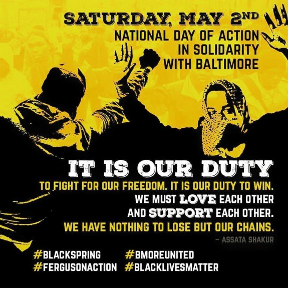 May 2 Day Of Action BLMLA Baltimore Yellow